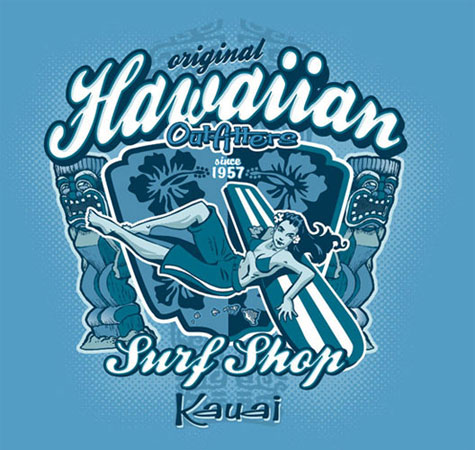 Hawaiian Outfitters Surf Shop by Greg Dampier - Illustrator & Graphic Artist of Portland, Oregon