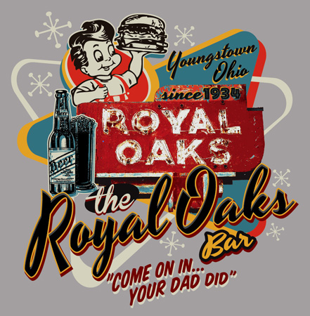 Royal Oaks Bar vintage sign by Greg Dampier - Illustrator & Graphic Artist of Portland, Oregon