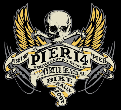 PIER 14 BIKE WEEK by Greg Dampier - Illustrator & Graphic Artist of Portland, Oregon