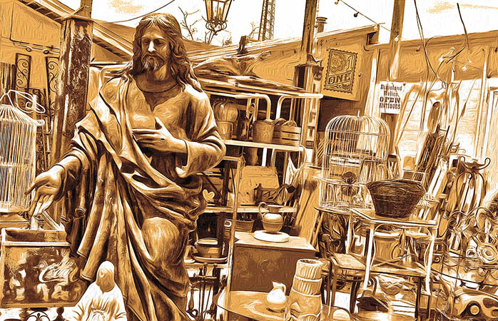 Vintage Jesus still life gold by Greg Dampier - Illustrator & Graphic Artist of Portland, Oregon