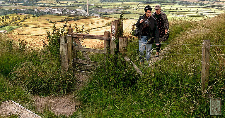 maz and Irene at White Horse England close by Greg Dampier - Illustrator & Graphic Artist of Portland, Oregon
