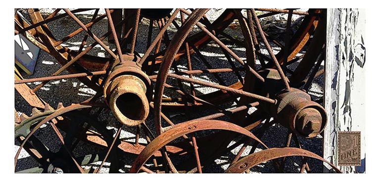Abstract Steel Spokes Phot by Greg Dampier - Illustrator & Graphic Artist of Portland, Oregon