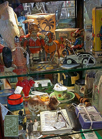 Collectables in cabinet renningers3 by Greg Dampier - Illustrator & Graphic Artist of Portland, Oregon