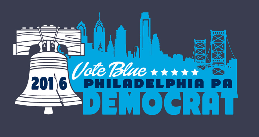 Democrat 2016 Philadelphia Liberty Bell design by Greg Dampier - Illustrator & Graphic Artist of Portland, Oregon