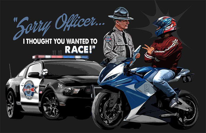Cop and Sportbike Traffic stop full art by Greg Dampier - Illustrator & Graphic Artist of Portland, Oregon