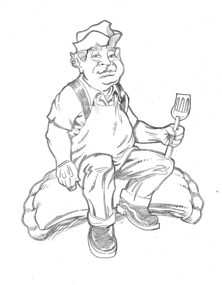 chef mascot sketch by Greg Dampier - Illustrator & Graphic Artist of Portland, Oregon